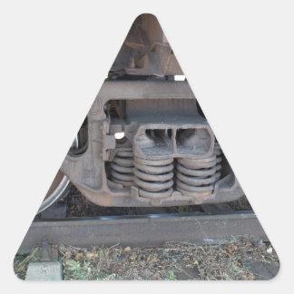 Detail closeup of a railroad coach triangle sticker