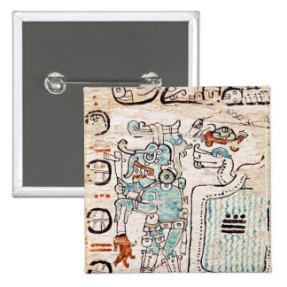 Detail from a Mayan codex Pinback Button