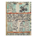 Detail from a Mayan codex Poster