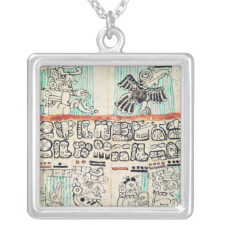 Detail from a Mayan codex Silver Plated Necklace