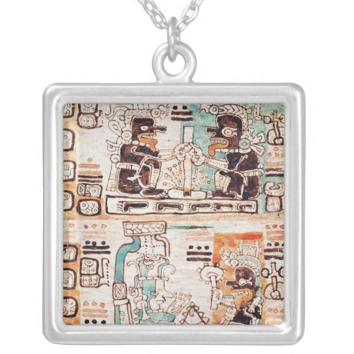 Detail from a Mayan codex Square Pendant Necklace