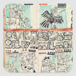 Detail from a Mayan codex Square Sticker