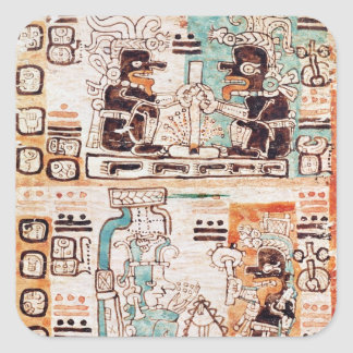 Detail from a Mayan codex Square Stickers