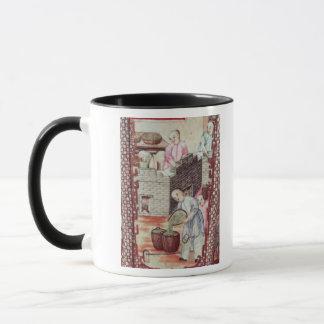Detail from a vase depicting drying tea mug