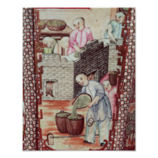 Detail from a vase depicting drying tea poster