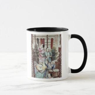 Detail from a vase depicting men dyeing silk mug