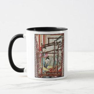 Detail from a vase depicting silk weaving mug
