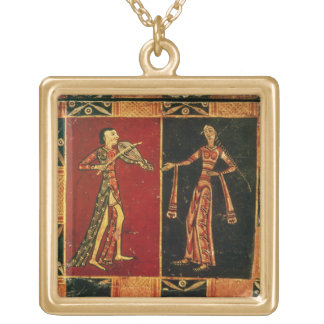 Detail from a wedding chest depicting a musician a square pendant necklace