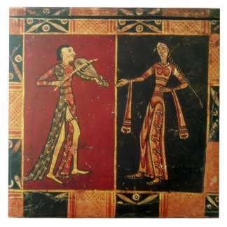 Detail from a wedding chest depicting a musician a ceramic tile