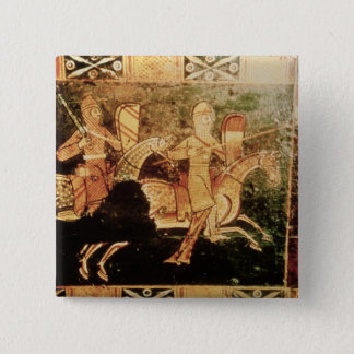 Detail from a wedding chest depicting soldiers goi pinback button