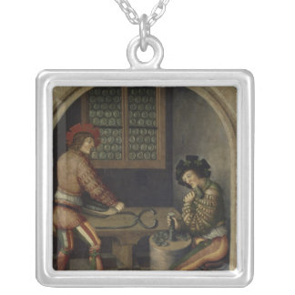 Detail from Mining Landscape, 1521 Silver Plated Necklace