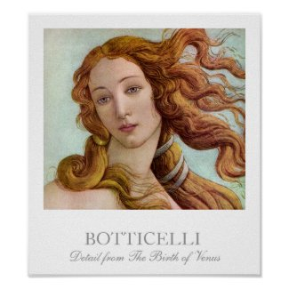 Detail from The Birth of the Roman Goddess of Love, Venus by Botticelli Poster