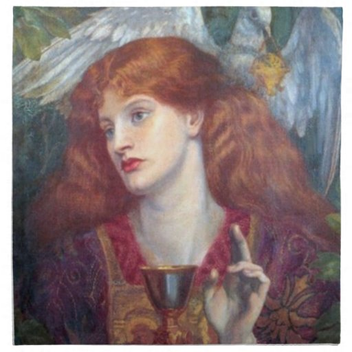 Detail from The Damsel of Sanct Grael by Rossetti Napkins