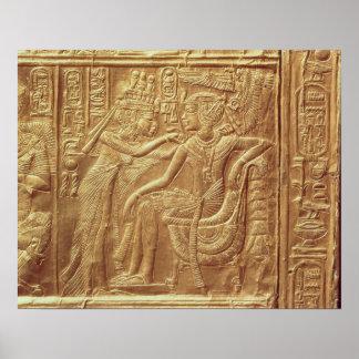 Detail from the little shrine of Tutankhamun Poster