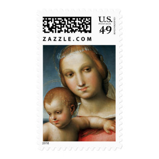 Detail from <Virgin and Child> Attributed to Rapha Postage Stamp