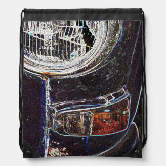 Detail images of Swedish cars. Drawstring Bags