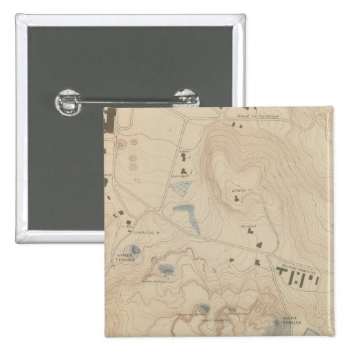 Detail Map of Mammoth Hot Springs Pinback Buttons