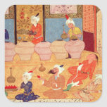 Detail of a banquet with musicians square sticker