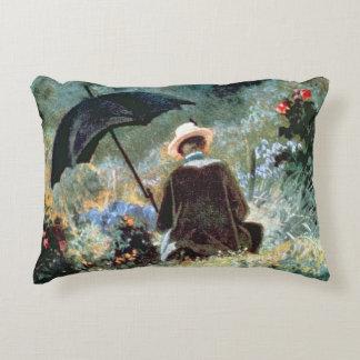 Detail of a Gentleman reading in a garden Accent Pillow