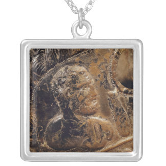 Detail of a gladiator's mask square pendant necklace