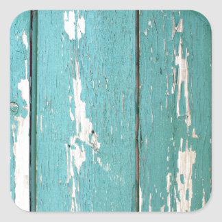Detail of a green fence from wooden planks square sticker