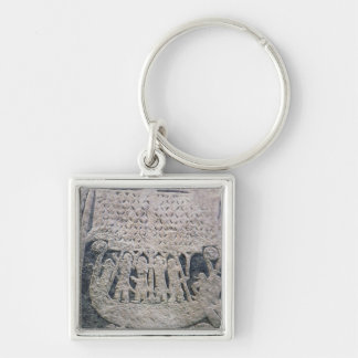 Detail of a picture stone Silver-Colored square keychain