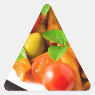 Detail of a plate closeup Italian pasta penne Triangle Sticker