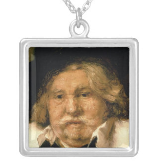 Detail of a Portrait of an old man, 1667 Square Pendant Necklace