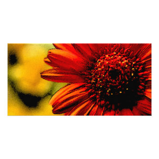 Detail of a Red Flower Photo Card Template