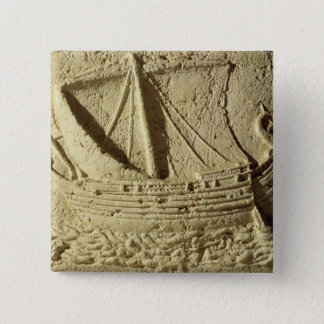 Detail of a relief of a boat, from a sarcophagus pinback button