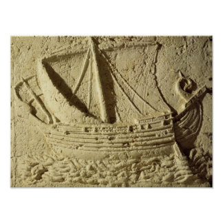 Detail of a relief of a boat, from a sarcophagus poster