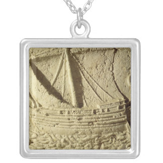 Detail of a relief of a boat, from a sarcophagus silver plated necklace