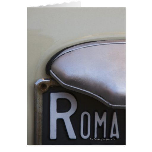 detail of a Roma number plate on a small Italian Greeting Cards