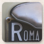 detail of a Roma number plate on a small Italian Coaster