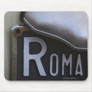 detail of a Roma number plate on a small Italian Mouse Pad