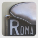 detail of a Roma number plate on a small Italian Square Sticker