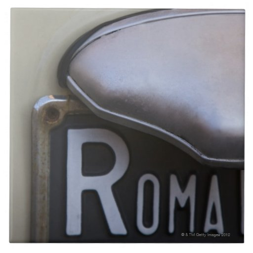 detail of a Roma number plate on a small Italian Ceramic Tiles