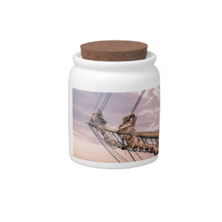 Detail of a sailing ship candy jar