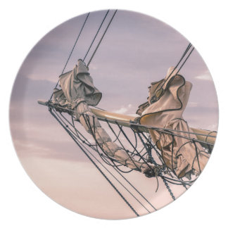Detail of a sailing ship dinner plate