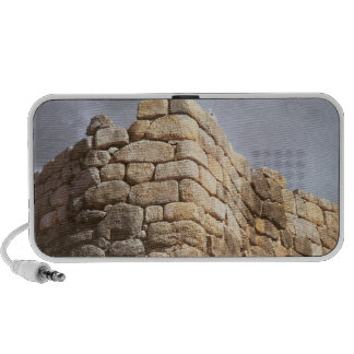 Detail of a stone wall laptop speakers