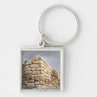 Detail of a stone wall Silver-Colored square keychain