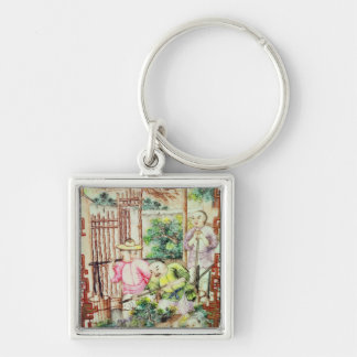 Detail of a vase with men watering tea plants keychain