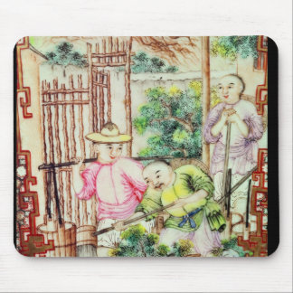 Detail of a vase with men watering tea plants mouse pad