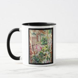Detail of a vase with men watering tea plants mug