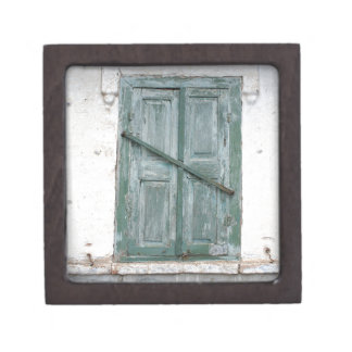 Detail of a wall of an old house with a window jewelry box