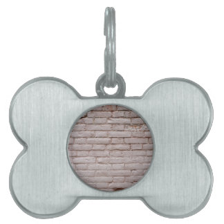 Detail of a wall of the old beige clay bricks pet name tag