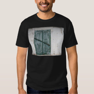 Detail of a wall with wooden shutters t shirt