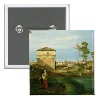 Detail of 'Capriccio with Motifs from Padua' 2 Inch Square Button