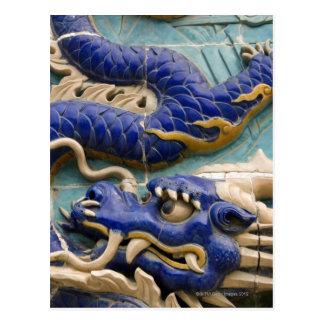 Detail of ceramic dragon on historic Nine Dragon Postcard
