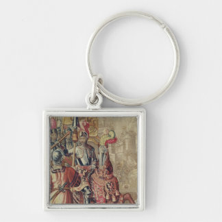 Detail of Charles V  on horseback Silver-Colored Square Keychain